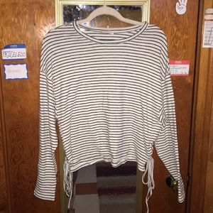 Black and white/cream striped long sleeve top